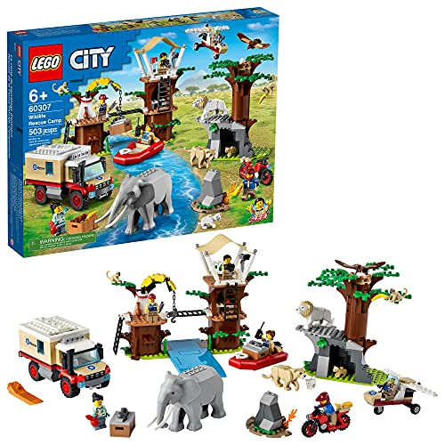 LEGO City Wildlife Rescue Camp 60307 Building Kit; Animal Playset; Top Toy for Kids Aged 5 and Up; New 2021 (503 Pieces)