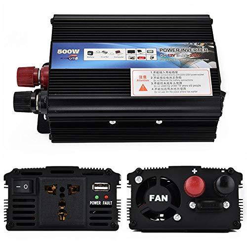 WHR-HARP 500W Wechselrichter Spannungswandler 12V auf 230V Power Inverter, mit EU-Steckdosen & 2.4A USB-Anschluss for RV Auto Hausgebrauch Auto, Direktanschluss an Autobatterie,12Vto220V