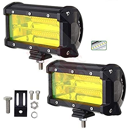 Andride 7 Inch CREE LED Cube Fog Light for Cars, Off Road Vehicle, Truck, 4WD, SUV, ATV - LED Pod Work Flood Light 9-24V 72W - Pack of 2 (Yellow)