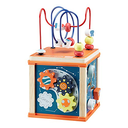 Juego de laberinto de cuentas de juguete de madera, juguete de energía multi-cinética seis en uno, juguete interactivo de cubo de actividades para niños y niñas de 1 a 6 años, regalo educativo para ni