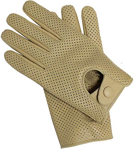 Riparo Motorsports Men's Genuine Leather Mesh Perforated Summer Driving Motorcycle Gloves (Small, Sand)