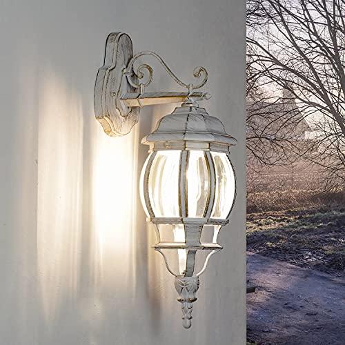 Lámpara de pared rústica para exteriores, color blanco y dorado, E27, IP44, para casa o jardín