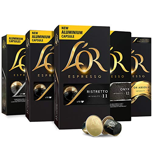L'OR Espresso Pods, 50 Capsules Single Cup Aluminum Coffee Capsules Compatible with Nespresso Original Machines, Variety Pack Intense
