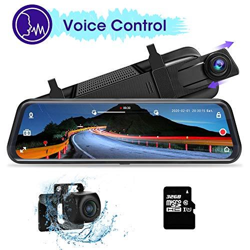 Jansite Voice Control Mirror Dash CAM 10'' Pantalla táctil Completa, 1080P Cámara Trasera Espejo retrovisor Cámara para automóvil con Impermeable sin perforación Incluye Tarjeta TF de 32GB