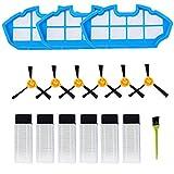 Poweka Filtros de Repuesto Compatibles con Robot Aspirador ILIFE V3 V3s V5 V5s V5s Pro 5 Filtros de Robot Aspiradora Pro 10 Cepillos Laterales 1 Filtro Primario