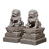 Estatua de Perro Feng Shui Foo, Riqueza, Prosperidad, par de Perros Fu Foo, estatuas de león guardián, estatuas de león guardián Chino Tradicional para el hogar, Regalos,Sandstone