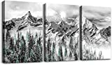 ZEYDRT Canvas Wall Art for Living Room Modern Navy Abstract Forest Mountains Print Poster Picture Artworks for Bedroom Bathroom Kitchen Wall Decor 3 Pieces Framed Ready to Hang