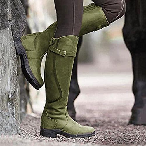 QAZW Botas de Nieve para Mujer Moda Color sólido Botas por Encima de la Rodilla hasta el Muslo Botas de Caballero Planas Antideslizantes cálidas de Invierno clásicas Botas de Tubo Largo,F-35(EU)