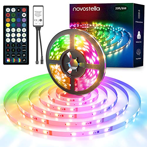 LED Strip 6M RGB, Novostella LED Stripes Streifen Strips Band Dimmbar Wasserdicht Sync mit Musik RF Fernbedienung 44 Tasten empfindliches Mikrofon, 180 LEDs 12V für Indirekte Beleuchtung Innen