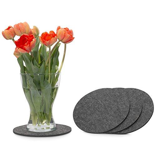 FILU Filzuntersetzer rund 20cm 4er Pack (Farbe wählbar) dunkelgrau - Untersetzer aus Filz für Tisch und Bar als Glasuntersetzer/Getränkeuntersetzer für Glas und Gläser ? grau