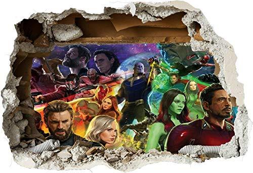 WYHXYZ Adesivi da Parete 3D Avengers Infinity War Super Heros 3D Smashed Wall View Sticker Poster Vinile 967
