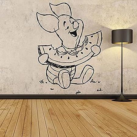 WERWN Anime Oso Etiqueta de la Pared Cerdo Comiendo sandía Vinilo Creativo Pegatina habitación de los niños Dormitorio decoración Interior Arte de la Pared