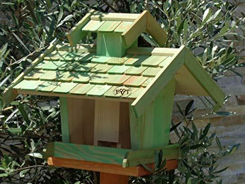 Vogelhaus+Ständer-Futterhaus-K-BEL-VOVIL4-MS-moos002 Großes PREMIUM-Qualität,Vogelhaus,KOMPLETT mit Ständer wetterfest lasiert, WETTERFEST, QUALITÄTS-Standfuß-aus 100% Vollholz, Holz Futterhaus für Vögel, MIT FUTTERSCHACHT Futtervorrat, Vogelfutter-Station Farbe grün moosgrün lindgrün natur/grün, Ausführung Naturholz MIT TIEFEM WETTERSCHUTZ-DACH für trockenes Futter - 5
