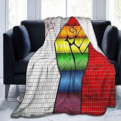 Flanelldecke mit Faust auf einer Malta-Flagge, flauschig, bequem, warm, leicht, weich, Überwurf für Sofa, Couch, Schlafzimmer