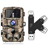 Campark Trail Cam and SD Card Reader Bundle Waterproof 16MP 1080P Game Hunting Scouting Cam with 3 Infrared Sensors for Wildlife Monitoring Memory Card Viewer Compatible with iPhone iPad Mac Android