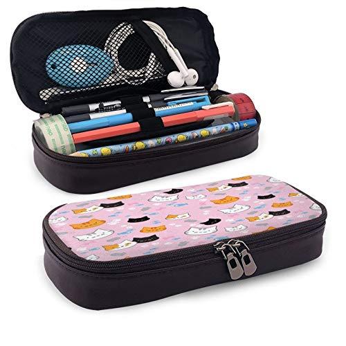 Pink Kittens - Estuche de piel de gran capacidad para lápices de estudiantes, caja de papelería, bolsa de almacenamiento