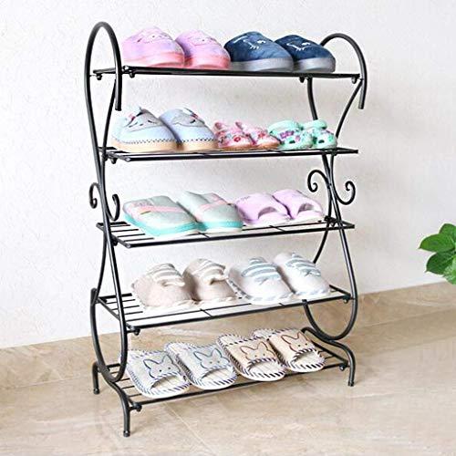 WLGQ Gabinete para Zapatos a Prueba de Polvo Zapatero Zapatero Estante para Zapatos Entrada apilable 15 Pares Unidad de Almacenamiento de Zapatos, 5 Niveles, 63x25x89cm (Color: Negro)