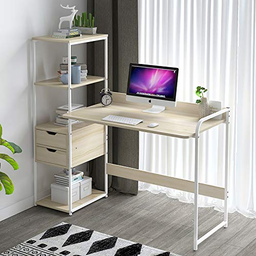 GORVELL Maple Cherry Wood Large L-shaped Corner Computer Desk with 4 Tier Bookcase 2 Drawers Home Office Storage Shelves Laptop PC Writing Workstation, L115x W40 x H121cm