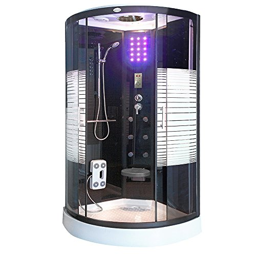 Home Deluxe - Dampfdusche - Black Pearl mit Regendusche - Duschtempel Fertigdusche, Dusche, Duschkabine Komplett (90 x 90 cm)