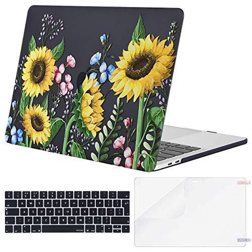 MOSISO Funda Dura Compatible con 2019 2018 2017 2016 MacBook Pro 13 USB-C A2159 A1989 A1706 A1708, Carcasa Plástico&Cubierta de Teclado de Color a Juego&Protector de Pantalla, Girasol con Hojas