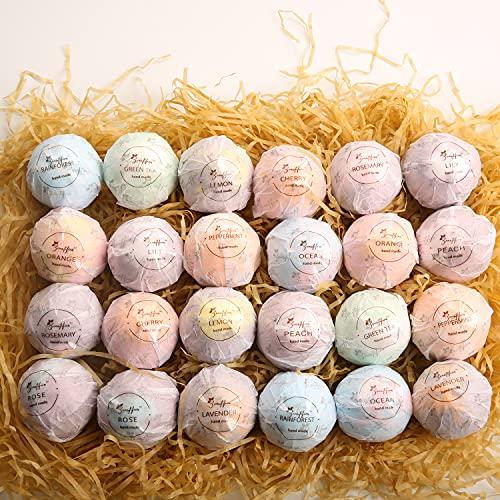 Beautifier Life Moisturizer Bath Bombs Gift Set (Set of 24) Natural Refreshing Bubble Bath Kit with...