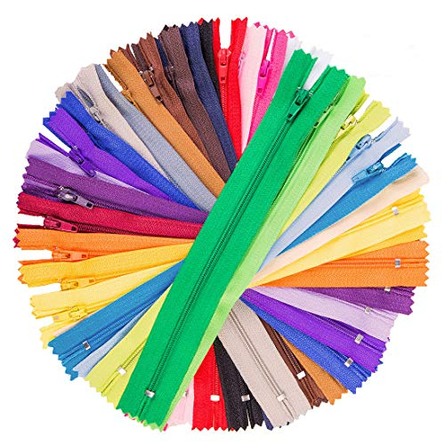 100 Pcs 9 Inch Nylon Coil Zippers Tailor Sewer Bulk for Sewing Crafts 25 Colors