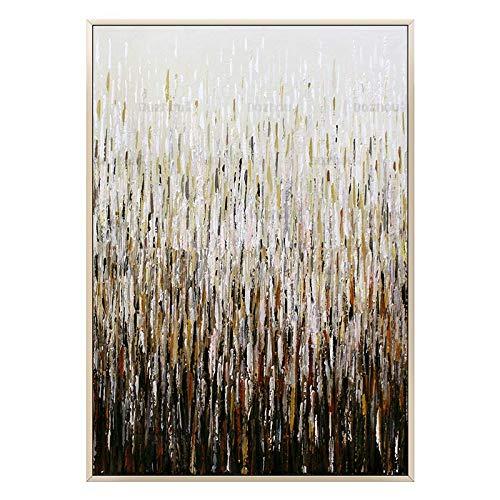 SUMIANYH 100% handgeschilderde olieverfschilderijen moderne minimalistische pure handgeschilderde abstracte olieverfschilderij huis ingang hal woonkamer gouden folie licht luxe hotel Villa op maat hangende muurschildering 30×50cm