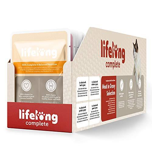 Marca Amazon - Lifelong Alimento completo para gatos adultos - Selección de carne en salsa, 9,6 kg (96 bolsitas x 100g)