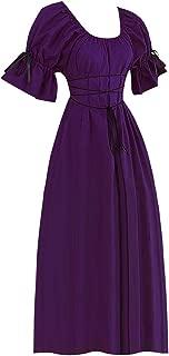 Women Vintage Dresses, Short Petal Sleeve O-Neck Medieval Cosplay Princess Dress Court Costume