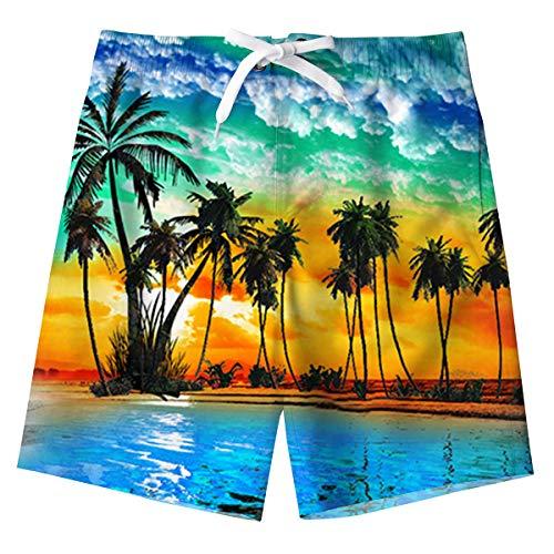 Spreadhoodie Niño Bañador Natación 3D Impresos Secado Rápido Ropa de Playa Hawaiano Pantalones Cortos con Bolsillos Laterales 5-16 Años