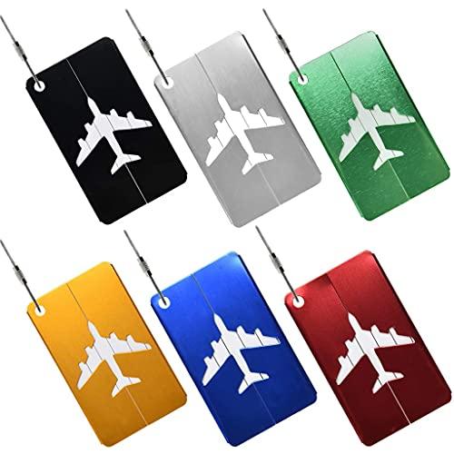 Conruich Lot de 6 étiquettes de bagage en métal - En...