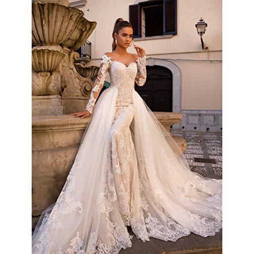 LSZHGL Brautkleider Elegantes Brautkleid Spitze Brautkleid Romantischer Abnehmbarer Zug 2 in 1 Schulterfrei Brautkleider