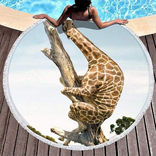 Stormruier Funny Giraffe On The Tree - Toalla de playa (150 cm), diseño de jirafa en el árbol, color blanco