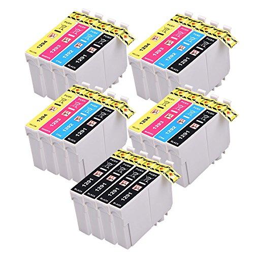PerfectPrint - Reemplazo tinta cartucho compatible con Epson Stylus SX-230 235W 420W 425W 435W 440 445W 525WD 535WD 620FW T1295 (Negro/Cian/Magenta/Amarillo, 20-Paquete)