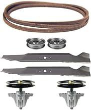 """Huskee LT4600 46"""" Mower Deck Parts Rebuild Kit Spindle Assemblies Blades Belt Idler Pulleys"""
