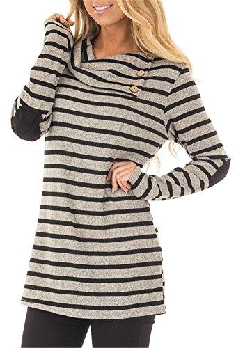 ETCYY Women's Long Sleeve Striped Button Cowl Neck Tunic Sweatshirts Tops,Gray,Large