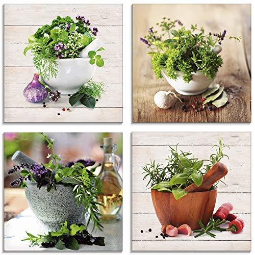 Artland Glasbilder Wandbild Glas Bild Set 4 teilig je 20x20 cm Quadratisch Stillleben Küche Gewürze Chili Knoblauch Mediterran Holzoptik S6IJ