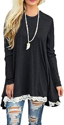 WEKILI Women s Tops Long Sleeve Lace Scoop Neck A line Tunic Blouse Black L US 12 14 product image