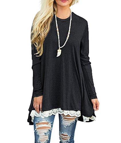 WEKILI Women's Tops Long Sleeve Lace Scoop Neck A-line Tunic Blouse Black XXL/US 20-22