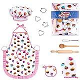 Tinabless Küchenspielzeugzubehör Kinderküche Kochgeschirr Edelstahlpfanne Set Schürze und Kochmütze für Mädchen und Jungen