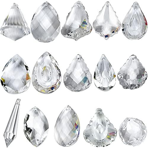 15 Piezas Bola de Crista Feng Shui, Bola de Cristal Prisma Transparente, Bola Octogonal de Cristal Colgante para Decoración de Lámpara Jardín Boda Fiestas - Aprox. 50mm