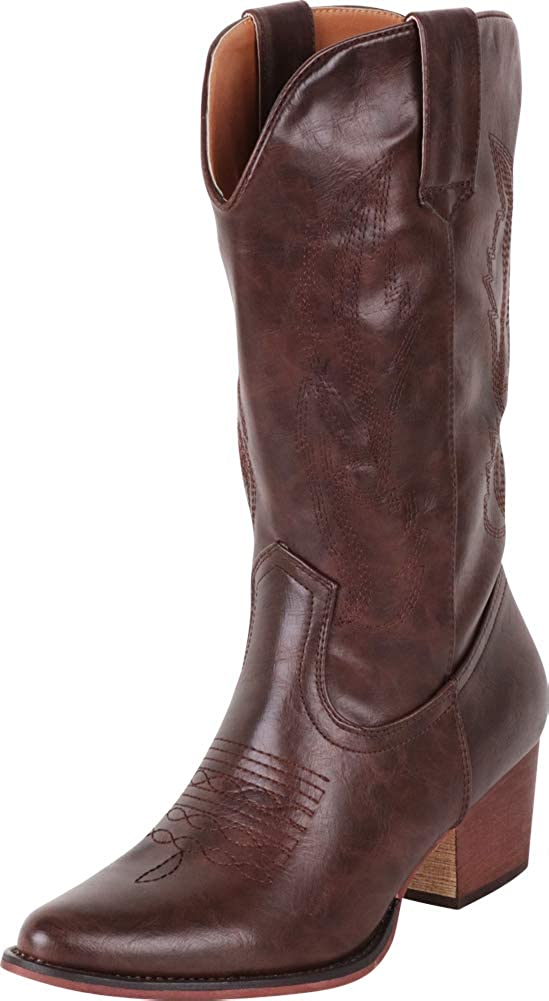 Cambridge Select Women's Pointed Toe Distressed Stitched Mid-Calf Western Cowboy Boot