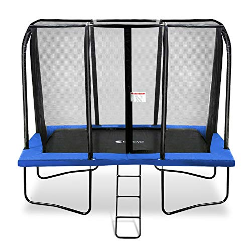 Exacme 7x10 Foot Rectangle Trampoline with Enclosure for Kids Spring Cover Ladder High Weight Limit, Blue