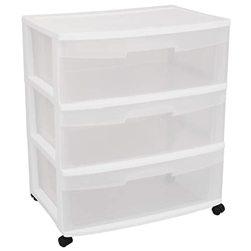 Sterilite 29308001 Wide 3 Drawer Cart, White Frame With Clear Drawers And  Black Casters,