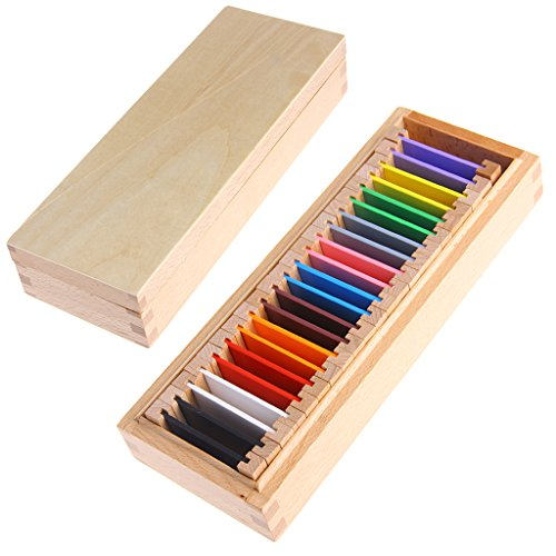 DEARLOYEA Montessori Sensorial Material Learning Color Tablet Box Wood Preschool