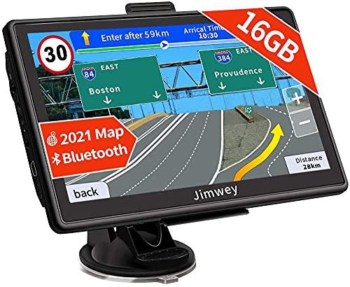 Bluetooth Navi Navigation für Auto Navigationsgerät LKW Navigationssystem PKW 7 Zoll 16GB Kostenloses Kartenupdate mit Freisprecheinrichtung POI Blitzerwarnung Sprachführung Fahrspur 2021 Europa Karte
