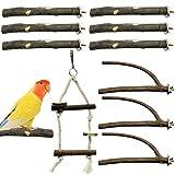 EBaokuup Bird Parrot Perch Stand Set - 10 PCS Small Bird Parakeet Stand Toys, Natural Wood Fork Perch Rod Stand Bird Cage Accessories for Pet Budgies Cockatiels Conure Lovebirds