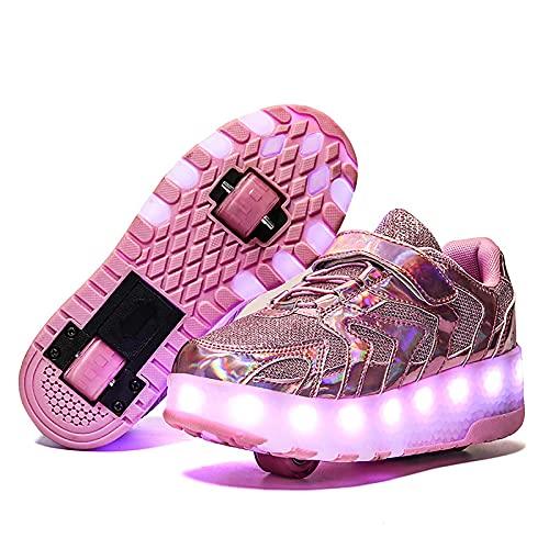 XJBHD Zapatos con Ruedas Zapatillas con Dos Ruedas para Niños y Niña Led Luces Zapatillas con USB Recargable Automática Calzado de Skateboarding Patines Deportes Zapatos para Niños Niñas