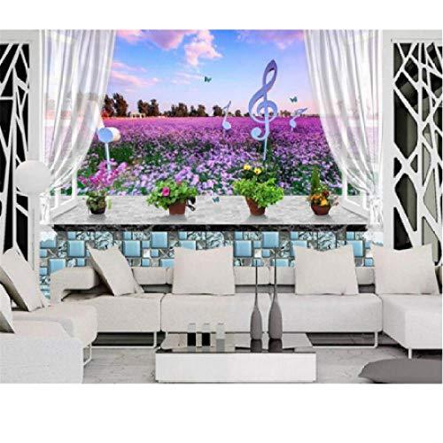 Mtisrx HD Wallpaper für Wände 3d Fensterbank Lavendel Blumen 3D Wandbild Wand Hintergrund Moderne Mode Persönlichkeit WallpaperMtisrx -350cmx245cm