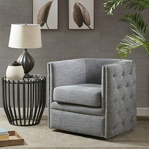 Madison Park Capstone Swivel Chair - Solid Wood, Plywood, Metal Base Accent Armchair Modern Classic Style Family Room Sofa Furniture, Slate